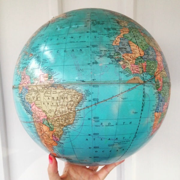 Easy upcycled globe makeover in just a few seconds you should have the whole world in your hands just like this sorry i had to now place the globe on a flat and stable surface gumiabroncs Gallery