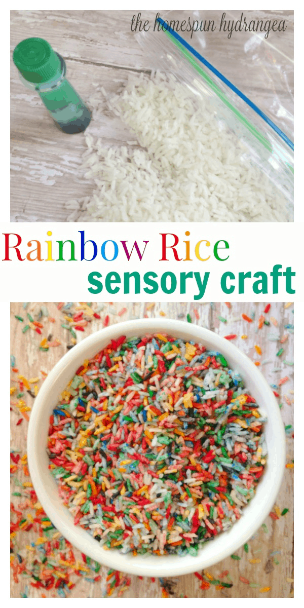 Rainbow Dyed Sensory Table Rice