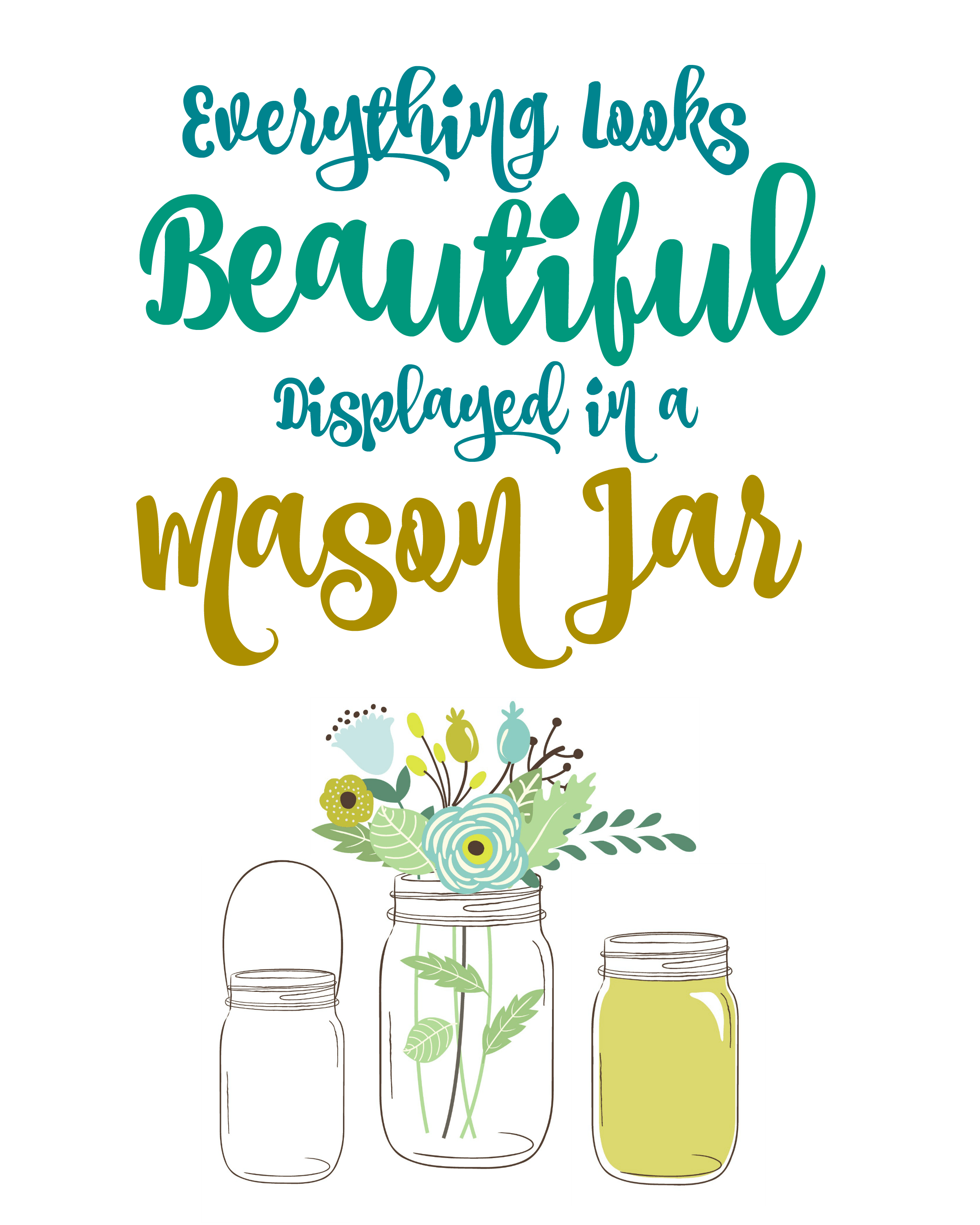 picture regarding Printable Mason Jar Template identified as Free of charge Mason Jar Printable Wall Artwork : Totally free Printables - The
