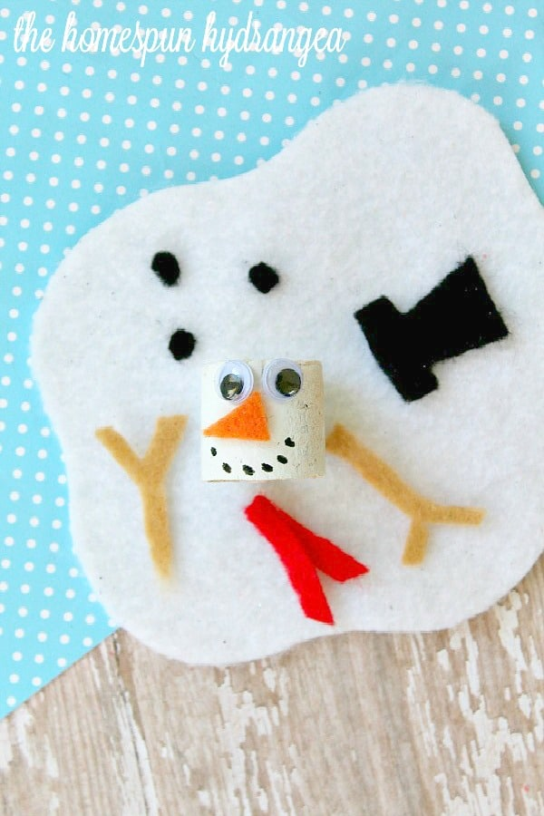 Give this easy melted snowman craft for