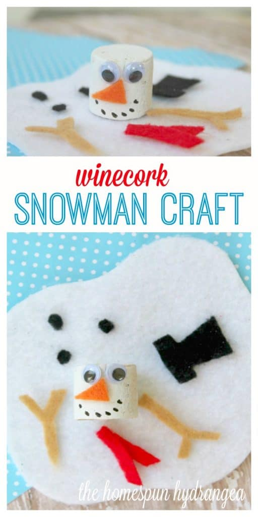Adorable Wine Cork Melted Snowman Craft For Kids The Homespun