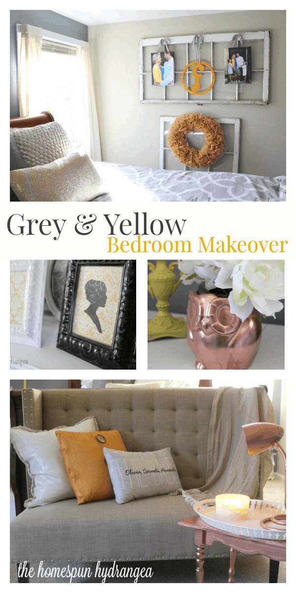 Thrifty Grey and Yellow Bedroom Makeover - The Homespun Hydrangea