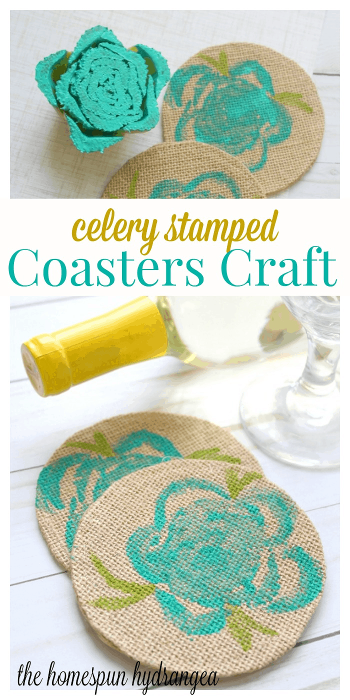 Easy Celery Stamped Coasters Craft For Kids The Homespun Hydrangea