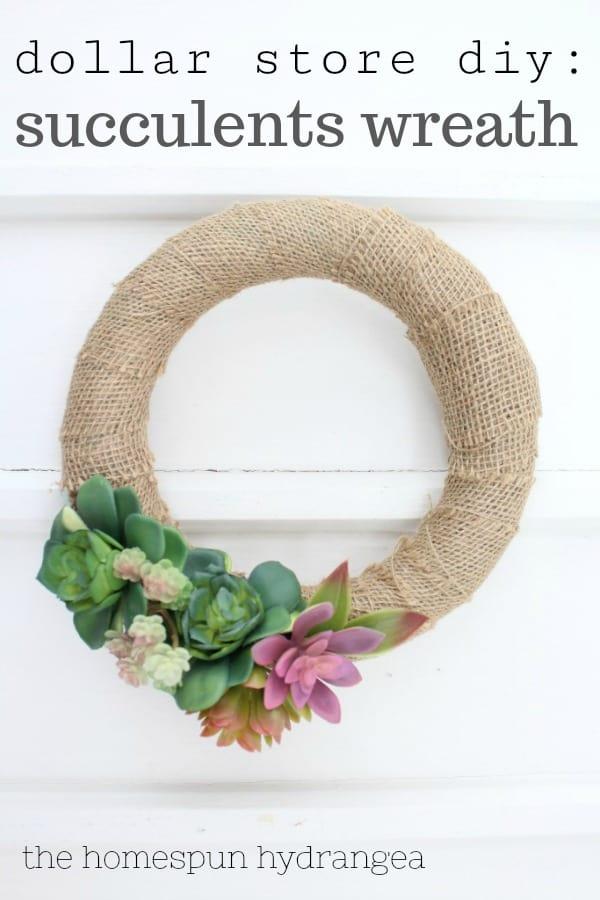 How To Make A Succulents Wreath Craft The Homespun Hydrangea