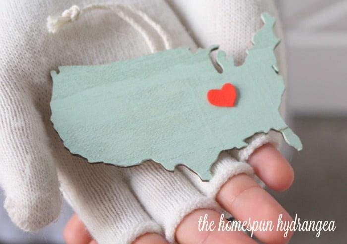 Custom USA Map Christmas Ornament  The Homespun Hydrangea